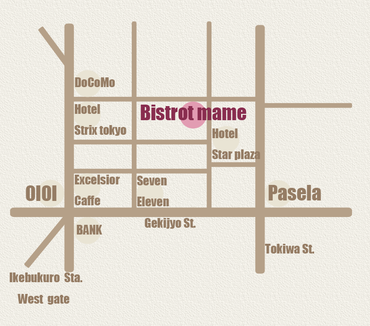 Bistrot mame MAN-SAT 18:00-5:00(L.O4:00) SUN-HOLIDAY 18:00-24:00(L.O23:00)